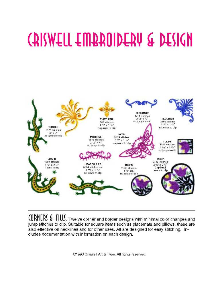 Criswell Embroidery Design Machine Designs