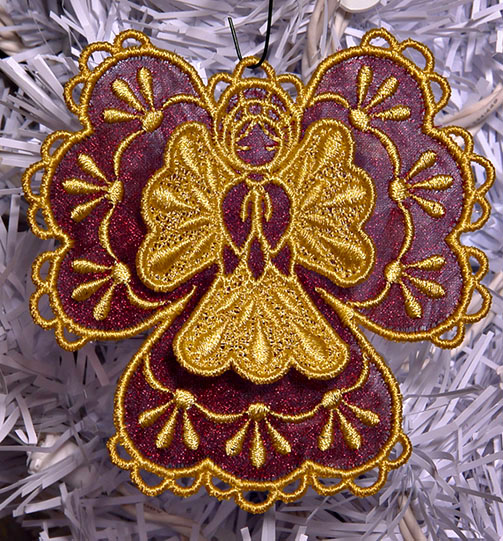 Machine Embroidery Designs K-Lace™ 3D Angels with Organza