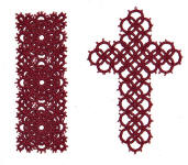 tatted cross bookmark