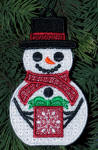 freestanding lace snowman ornament