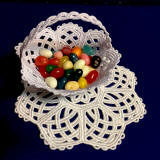 candy cup basket and doily