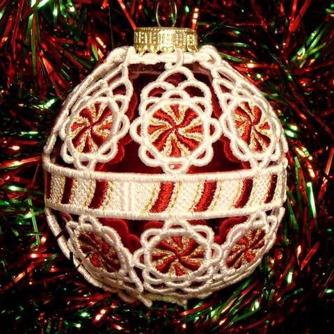 Gold Embroidered Free Standing Lace Christmas Tree Decoration