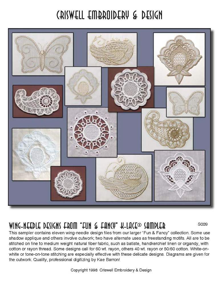 Machine Embroidery Designs K-Laceu2122 Wing Needle Designs